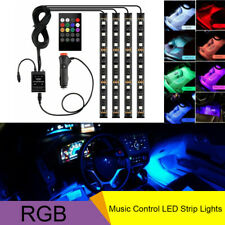 4pcs Car SUV RGB LED Lamp Inter Neon Atmosphere Light Strip Remote Music Control