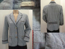 Bonita Jacke Blazer Damen Tailliert Knöpfe Taschen Grau Kariert 42 1A