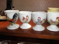 4 X VINTAGE FOOTED EGG CUPS ROOSTER AND 3 X CHICKEN WITH EGGS AND CHICKS