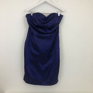 Coast Purple Strapless Satin Bandage Wiggle Dress Plus Size 18