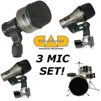 Drum Set mics for 3 piece Bass Snare Tom Tom Mic Kit CAD KM212 SN210 TM211 Pro 7