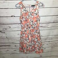 Banana Republic Womens 0 Pink White Floral Sleeveless Dress V Neck E65