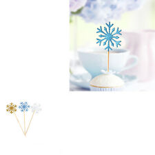 10x/lot Snowflake Cupcake Toppers Cake Decor Christmas Wedding Birthday Party US