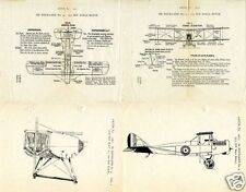 Airco DH4 DH 4 De Havilland WWI Biplane Manual 1917 VERY RARE HISTORIC