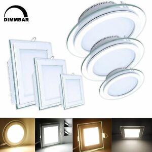 LED Panel Glas Einbaustrahler Deckenleuchte Einbau Beleuchtung Dimmbar flach DHL