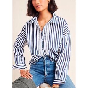 Anthropologie Womens Blue White Striped Lace Button Front Long Sleeve Top Size S