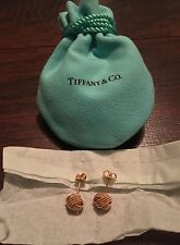 $850 Tiffany & Co.18K Rose Gold Somerset Twist Knot Rope Stud Earrings & Pouch!