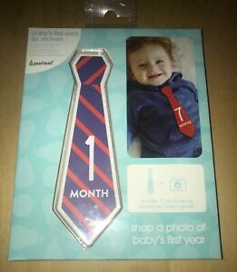 Pearhead Baby First Year Belly Tie Stickers, Multi Neckties NEW In BOX