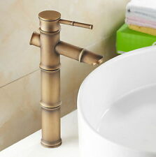 Antique Brass Bamboo Shape Bathroom Basin Sink Faucet Mixer Tap enf096