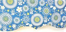 Window Valance Curtain Sunflowers Daisies Blue Yellow White Floral Custom NEW