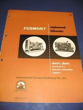 International Fermont Machinery 1955 Catalog Vintage Electrical Generators