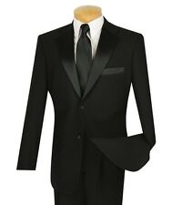 Men's Black Classic Fit Formal Tuxedo Suit w/ Sateen Lapel & Trim NEW Wedding