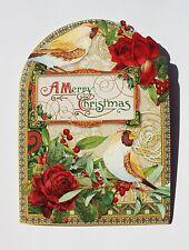 *PUNCH STUDIO Set of 4 Die Cut Blank Christmas Note Cards ~Roses~ Floral ~ Birds