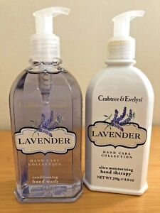 set/2 CRABTREE & EVELYN LAVENDER Hand Wash/Hand Therapy 8.8oz pump new