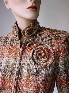 C-LANDIS COUTURE Blazer wie NEU M Handmade Unikat Tweed BW Wolle Seide
