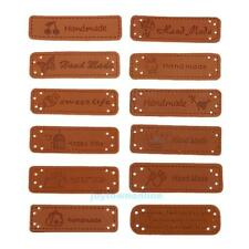 12pcs DIY PU Leather Tags On Clothes Garment Label For Jeans Bags Shoes Sewing