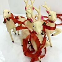 Vintage Celluloid Reindeer Pink Ears Christmas Deer Sleigh Ribbon