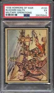 1938 GUM INC. HORRORS OF WAR R69 #100 BLIZZARD HALTS MILITARY PSA 5 *DS10756