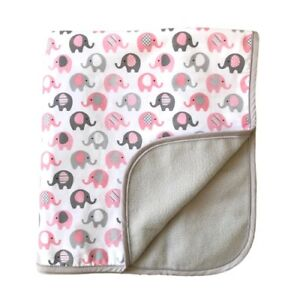 "Vera Elephant Cotton Fleece Baby Blanket (Petal Grey) 30""x40"""