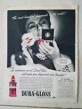 1941 Dura gloss pink lady nail polish fingernails compact cosmetic ad