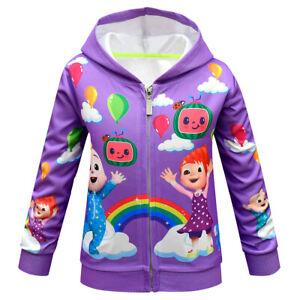 CocoMelon Kids Hooded Jacket Cardigan Girl Zipper Sweatshirt Hooded Sport Coat