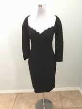 Tadashi Designer Stretch Black Tiered Ruffle Lace Sequin Long Sleeve Dress S NWT