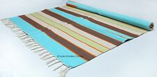 Cotton Handwoven 4' x 6' Area Rug Dhurrie Beach Yoga Mat Carpet India Home Decor