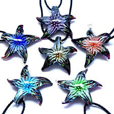 FREE Wholesale 6X Starfish Flower Lampwork Glass Pendants Black Cord Necklace