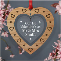 PERSONALISED Our First Valentines As Mr and Mrs Gifts for Husband Wife Keepsakes
