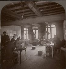 A busy telegraph office at General Head Quarters - WW1 Stereoview #081