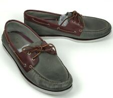 SPERRY TOP-SIDER Gold Cup A/O 2-Eye Grey/Brown Leather Boat Shoes Men's Size 15M