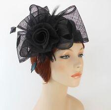 New Woman Church Derby Wedding Sinamay Pillbox Dress Hat SDL-009 Black