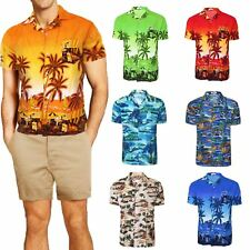 Mens Hawaiian Shirt Floral Print Rockabilly Surf Beach Party Holiday Stag Dance
