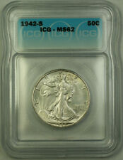 1942-S Silver Walking Liberty Half Dollar 50c ICG MS-62