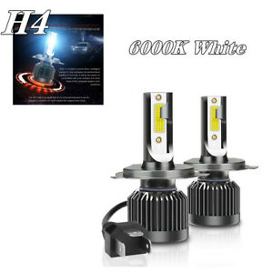 2X H4 White COB LED Chip Car Headlight 20000LM Conversion Bright Bulb 6000K Set
