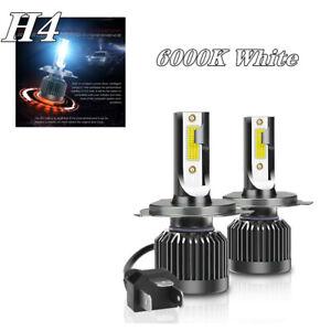 2X H4 White COB LED Chip Car Headlight 20000LM Conversion Bright Bulb 6000K Set