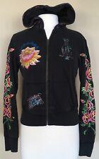 Christian Audigier Full Zip Sweatshirt Hoodie Rhinestone Floral Hip Hop Black S