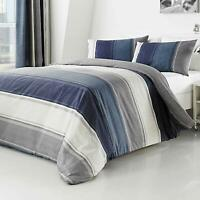 Fusion BETLEY Classic Blue and Grey Wide Stripes Duvet Cover Bedding Set