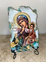 religious icon Mother Mary Jesus christian orthodox handmade one off saint art