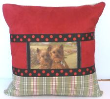 "Yorkshire Terriers On Designer Multi-Fabric, Down-Filled, 20""x 20"" Pillow, Usa"