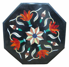"12"" Black Marble Coffee Table Top Carnelian Marquetry Inlay Christmas Gifts"