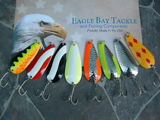 8 Eagle Bay Casting Trolling Spoons 3/8 ounce Pike Bass Trout Salmon USA MADE