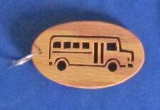 School Bus - Hand Cut Oak Key Chain