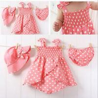 3pcs Kids Infant Baby Girls Dress+Short Pants+Hats Cap Costume Clothes Set 0-36M