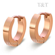 T&T Plain S. Steel Narrow Hoop Earrings Rose Gold EX09