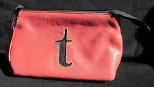 """""""KITSON"""" Initialed Lower case '""""t"""" Genuine Leather Make Up Bag Peachy/Pink & blk"""
