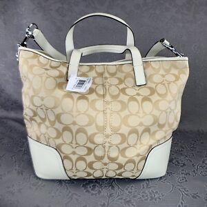 COACH SIGIY Light Khaki & Ivory Hadley Signature Duffel Handbag F30882