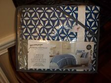 NIP Threshold Blue Burst Medallion Full/Queen Duvet Cover Set 3pc
