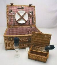 Pier 1 Imports Wicker Picnic Basket for 2 Wine Glass Plate Silverware ~New Other