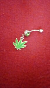 Belly Button Curved Bar Green M. Leaf Dangle with Green Crystal Accent